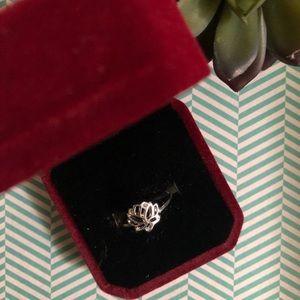 Silver lotus ring